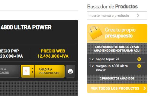 Catálogo de productos + herramienta de presupuestos